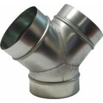 Légtechnikai Y- elágazás Horgonyzott Lemezből 125 mm Ø